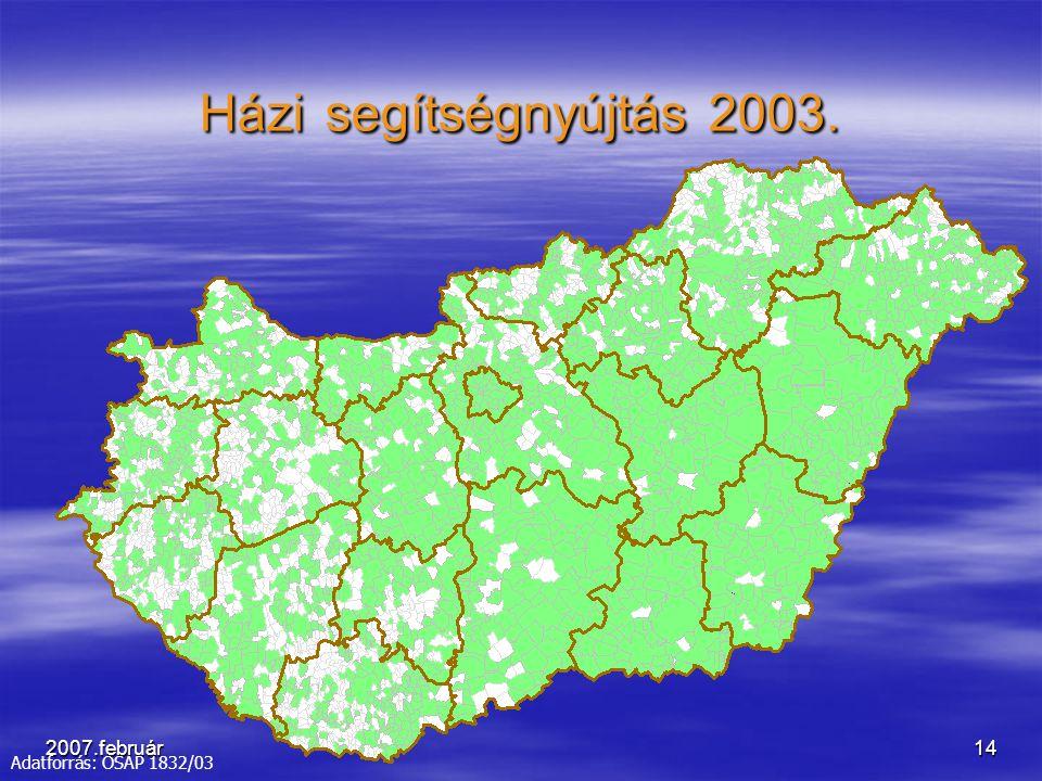 2007.február14 Házi segítségnyújtás 2003. Adatforrás: OSAP 1832/03