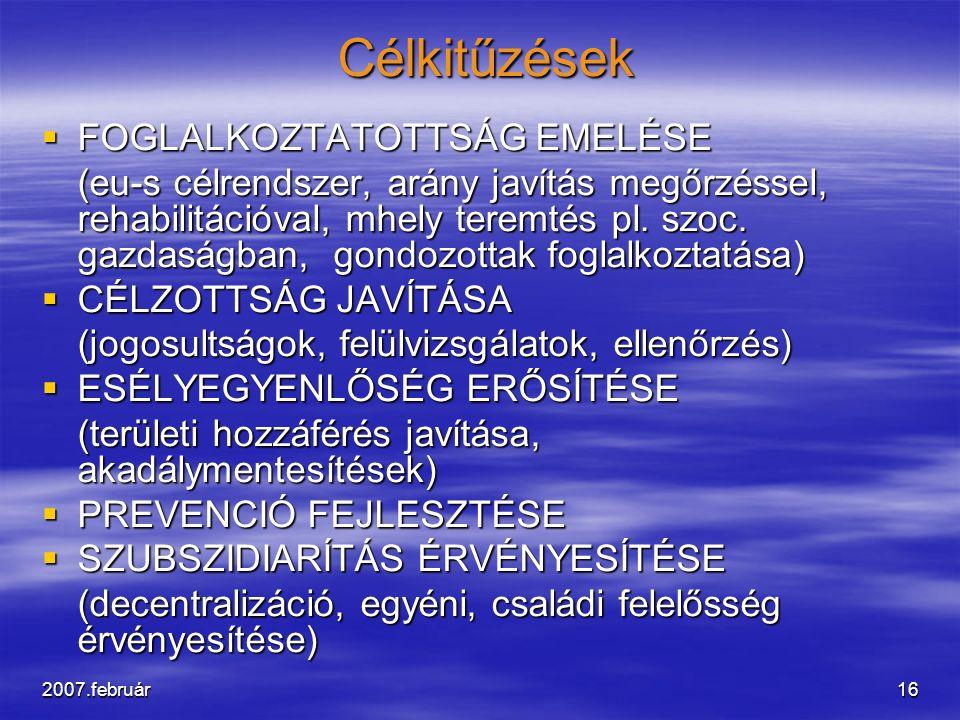 2007.február16 Célkitűzések Célkitűzések  FOGLALKOZTATOTTSÁG EMELÉSE (eu-s célrendszer, arány javítás megőrzéssel, rehabilitációval, mhely teremtés p