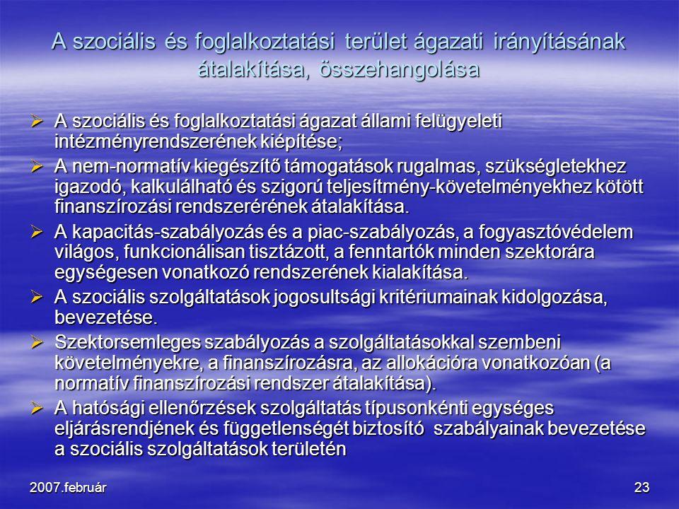 2007.február23 A szociális és foglalkoztatási terület ágazati irányításának átalakítása, összehangolása  A szociális és foglalkoztatási ágazat állami felügyeleti intézményrendszerének kiépítése;  A nem-normatív kiegészítő támogatások rugalmas, szükségletekhez igazodó, kalkulálható és szigorú teljesítmény-követelményekhez kötött finanszírozási rendszerérének átalakítása.