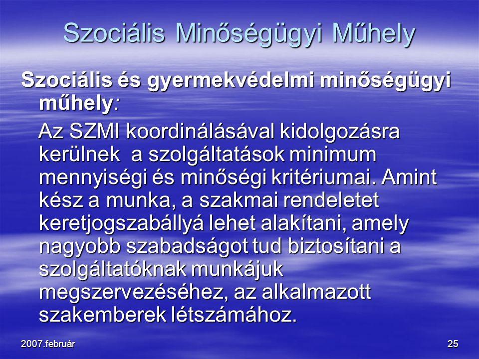 2007.február25 Szociális Minőségügyi Műhely Szociális és gyermekvédelmi minőségügyi műhely: Az SZMI koordinálásával kidolgozásra kerülnek a szolgáltatások minimum mennyiségi és minőségi kritériumai.