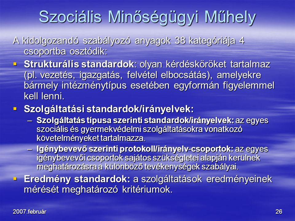 2007.február26 Szociális Minőségügyi Műhely A kidolgozandó szabályozó anyagok 38 kategóriája 4 csoportba osztódik:  Strukturális standardok: olyan kérdésköröket tartalmaz (pl.