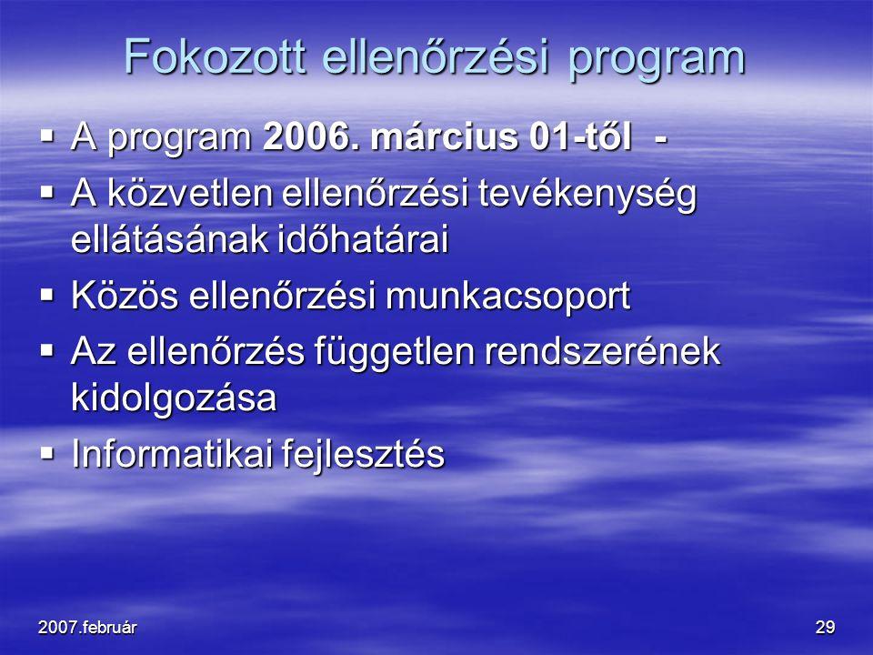 2007.február29 Fokozott ellenőrzési program  A program 2006. március 01-től -  A közvetlen ellenőrzési tevékenység ellátásának időhatárai  Közös el