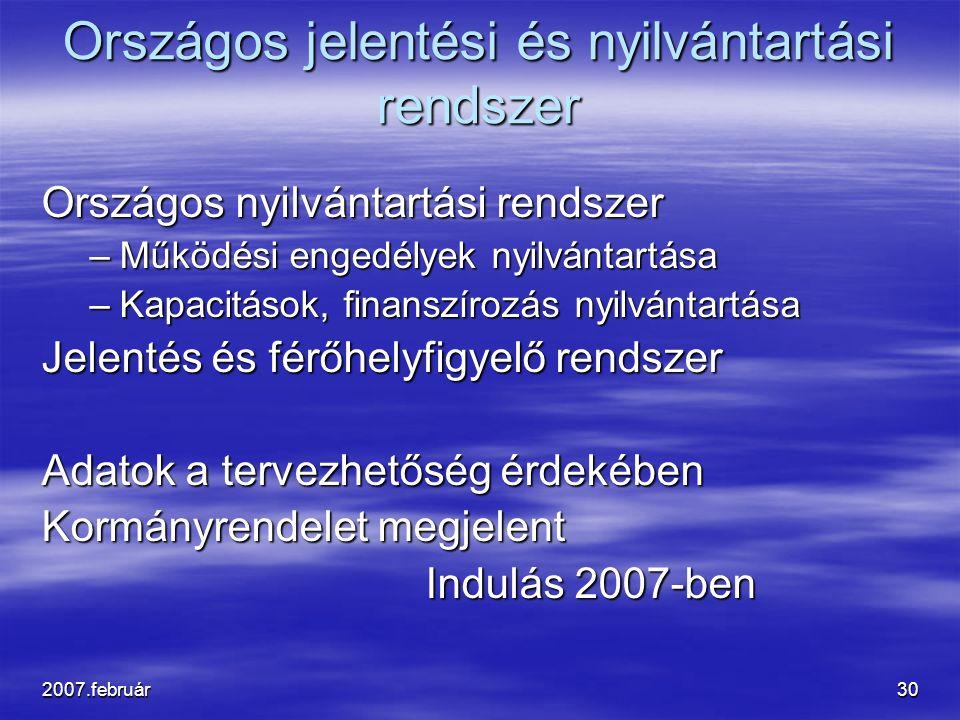 2007.február30 Országos jelentési és nyilvántartási rendszer Országos nyilvántartási rendszer –Működési engedélyek nyilvántartása –Kapacitások, finans