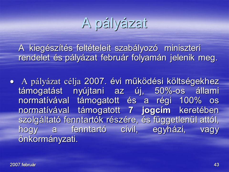 2007.február43 A pályázat A kiegészítés feltételeit szabályozó miniszteri rendelet és pályázat február folyamán jelenik meg.  A pályázat célja 2007.