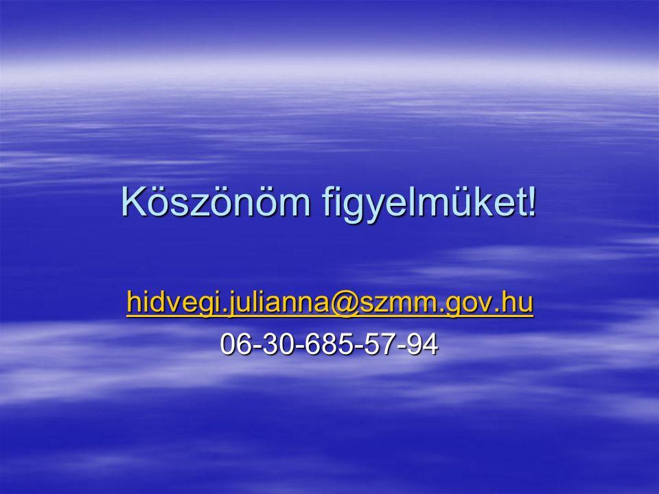 Köszönöm figyelmüket! hidvegi.julianna@szmm.gov.hu idvegi.julianna@szmm.gov.hu 06-30-685-57-94