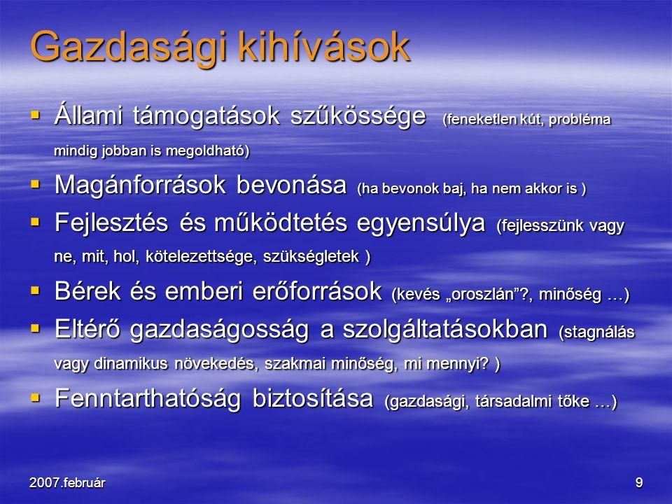 """2007.február9 Gazdasági kihívások  Állami támogatások szűkössége (feneketlen kút, probléma mindig jobban is megoldható)  Magánforrások bevonása (ha bevonok baj, ha nem akkor is )  Fejlesztés és működtetés egyensúlya (fejlesszünk vagy ne, mit, hol, kötelezettsége, szükségletek )  Bérek és emberi erőforrások (kevés """"oroszlán ?, minőség …)  Eltérő gazdaságosság a szolgáltatásokban (stagnálás vagy dinamikus növekedés, szakmai minőség, mi mennyi."""