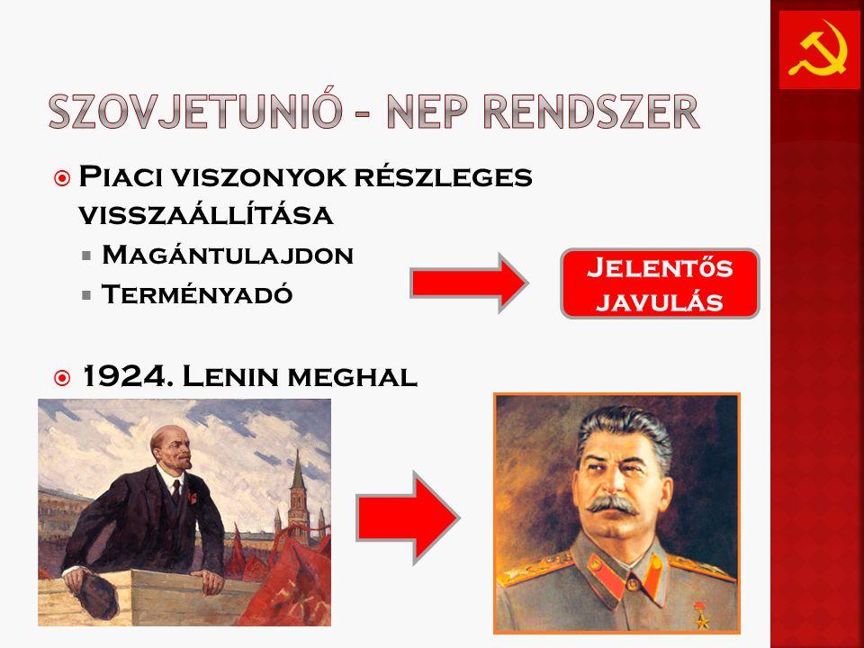  Piaci viszonyok részleges visszaállítása  Magántulajdon  Terményadó  1924. Lenin meghal Jelent ő s javulás