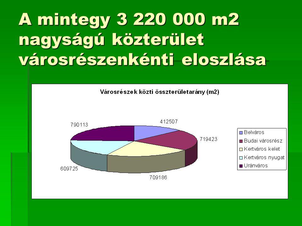 A mintegy 3 220 000 m2 nagyságú közterület városrészenkénti eloszlása