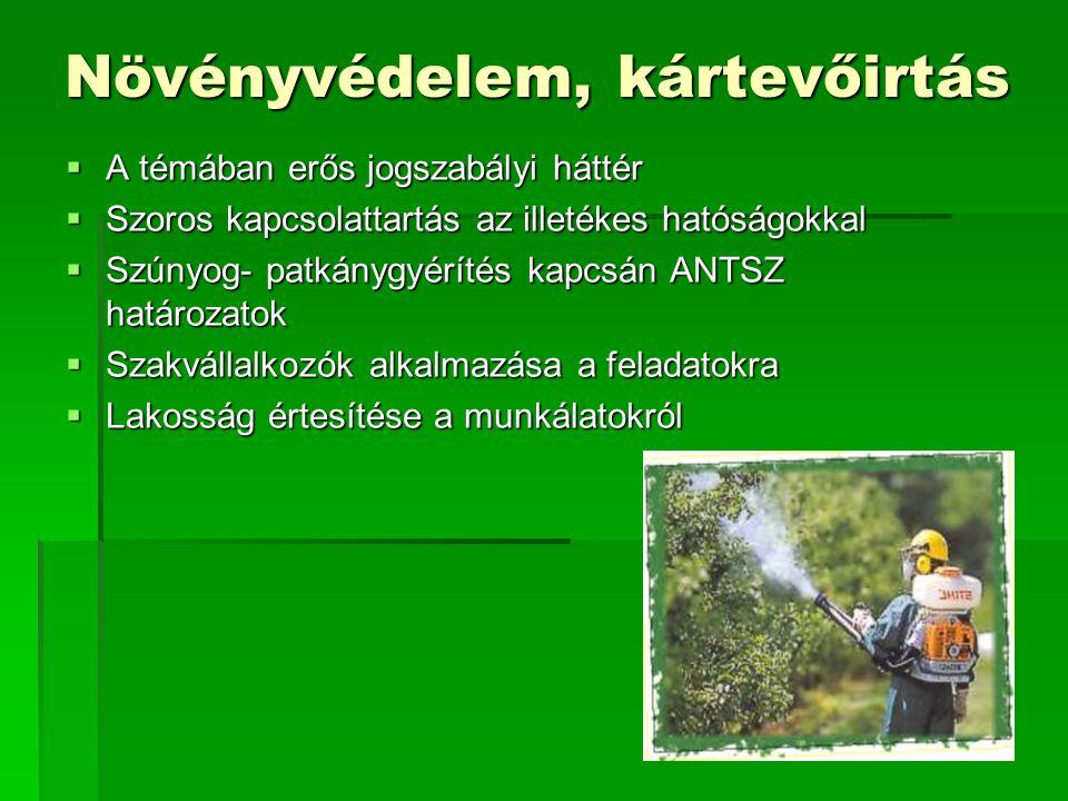 Növényvédelem, kártevőirtás  A témában erős jogszabályi háttér  Szoros kapcsolattartás az illetékes hatóságokkal  Szúnyog- patkánygyérítés kapcsán ANTSZ határozatok  Szakvállalkozók alkalmazása a feladatokra  Lakosság értesítése a munkálatokról