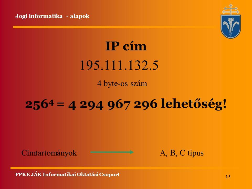 15 IP cím Jogi informatika - alapok 195.111.132.5 4 byte-os szám Címtartományok A, B, C típus 256 4 = 4 294 967 296 lehetőség! PPKE JÁK Informatikai O