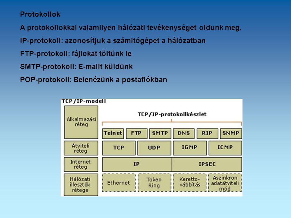 Protokollok A protokollokkal valamilyen hálózati tevékenységet oldunk meg. IP-protokoll: azonosítjuk a számitógépet a hálózatban FTP-protokoll: fájlok