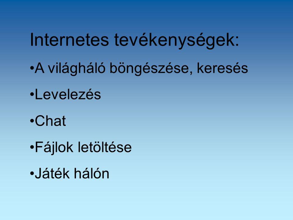 Internetes tevékenységek: A világháló böngészése, keresés Levelezés Chat Fájlok letöltése Játék hálón