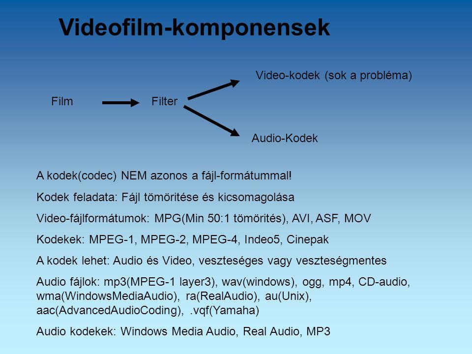 Videofilm-komponensek A kodek(codec) NEM azonos a fájl-formátummal! Kodek feladata: Fájl tömöritése és kicsomagolása Video-fájlformátumok: MPG(Min 50: