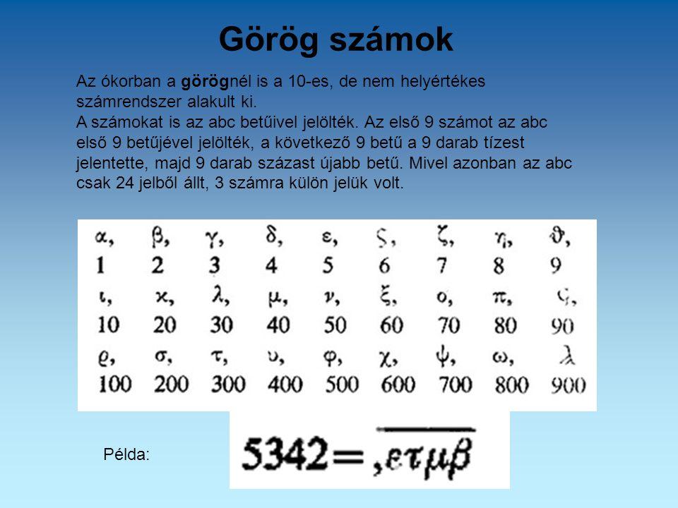 Görög számok Az ókorban a görögnél is a 10-es, de nem helyértékes számrendszer alakult ki. A számokat is az abc betűivel jelölték. Az első 9 számot az