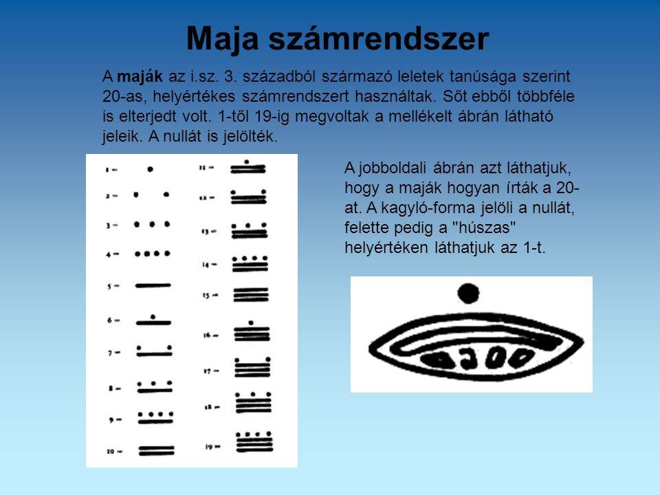 Maja számrendszer A maják az i.sz. 3. századból származó leletek tanúsága szerint 20-as, helyértékes számrendszert használtak. Sőt ebből többféle is e