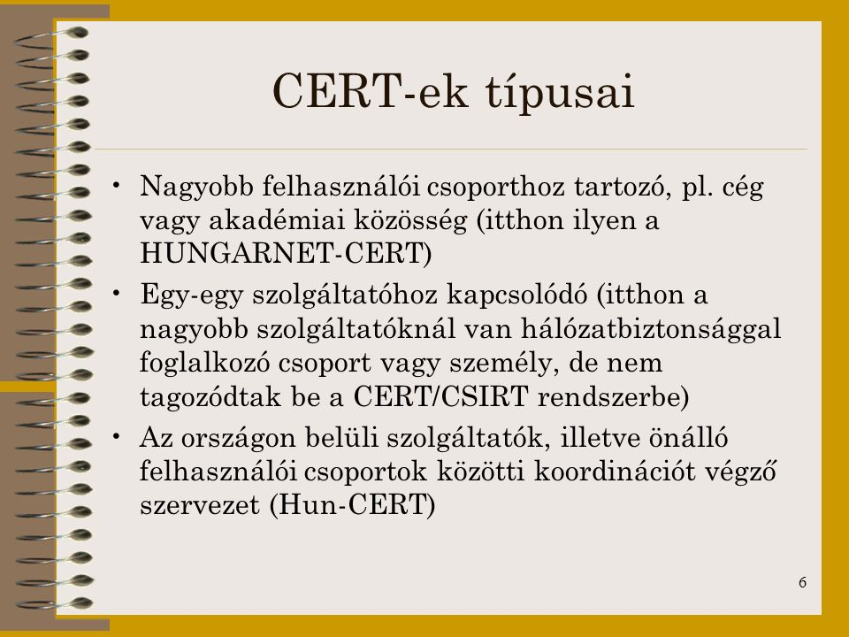 7 Nemzeti CERT (Hun-CERT) I.