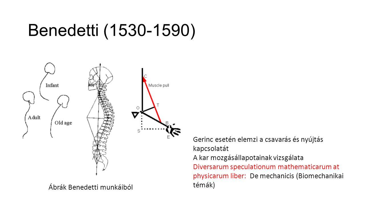 Benedetti (1530-1590) Ábrák Benedetti munkáiból Gerinc esetén elemzi a csavarás és nyújtás kapcsolatát A kar mozgásállapotainak vizsgálata Diversarum speculationum mathematicarum at physicarum liber: De mechanicis (Biomechanikai témák)
