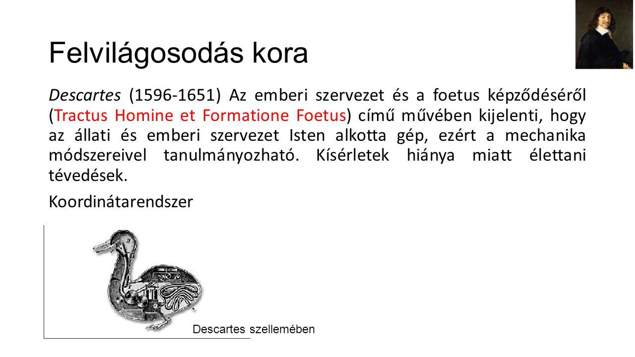 Felvilágosodás kora Descartes (1596-1651) Az emberi szervezet és a foetus képződéséről (Tractus Homine et Formatione Foetus) című művében kijelenti, hogy az állati és emberi szervezet Isten alkotta gép, ezért a mechanika módszereivel tanulmányozható.