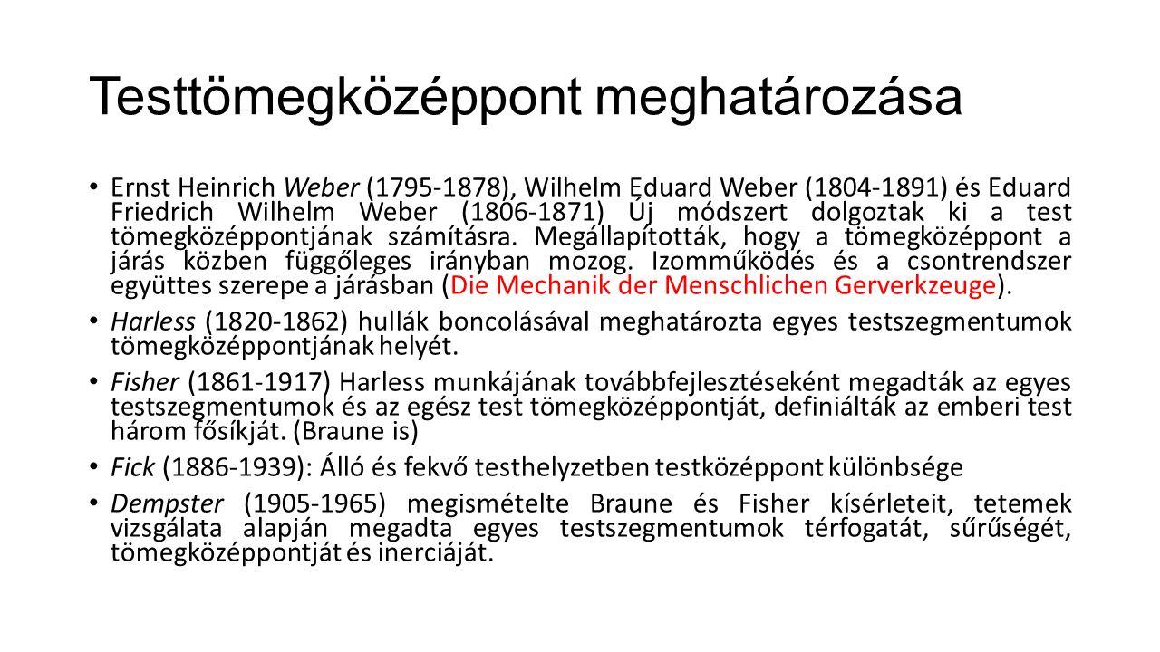 Testtömegközéppont meghatározása Ernst Heinrich Weber (1795-1878), Wilhelm Eduard Weber (1804-1891) és Eduard Friedrich Wilhelm Weber (1806-1871) Új módszert dolgoztak ki a test tömegközéppontjának számításra.