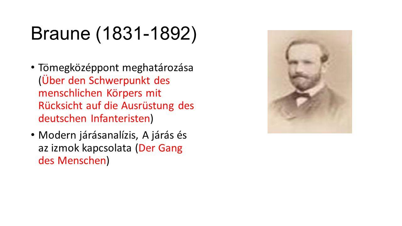 Braune (1831-1892) Tömegközéppont meghatározása (Über den Schwerpunkt des menschlichen Körpers mit Rücksicht auf die Ausrüstung des deutschen Infanteristen) Modern járásanalízis, A járás és az izmok kapcsolata (Der Gang des Menschen)