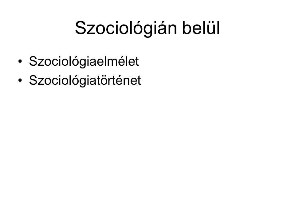 Szociológián belül Szociológiaelmélet Szociológiatörténet