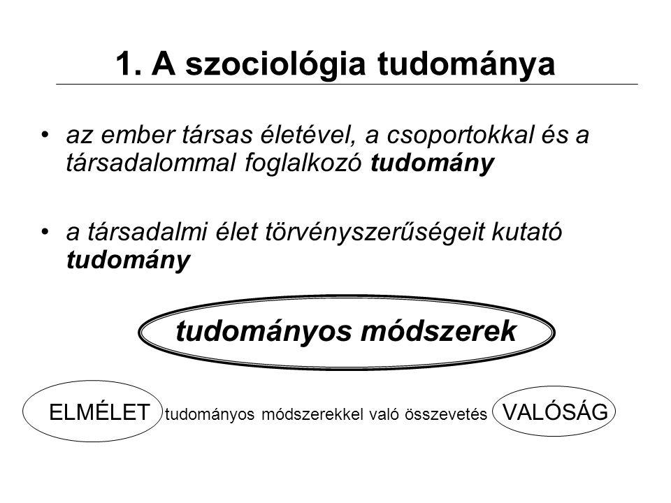 1. A szociológia tudománya az ember társas életével, a csoportokkal és a társadalommal foglalkozó tudomány a társadalmi élet törvényszerűségeit kutató