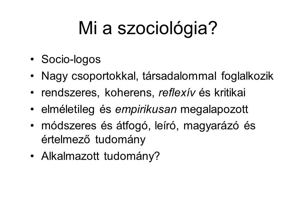 Mi a szociológia.