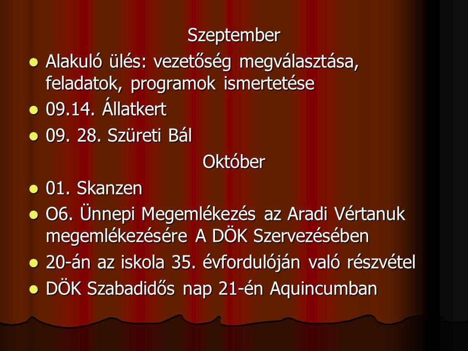 Szeptember Alakuló ülés: vezetőség megválasztása, feladatok, programok ismertetése Alakuló ülés: vezetőség megválasztása, feladatok, programok ismertetése 09.14.