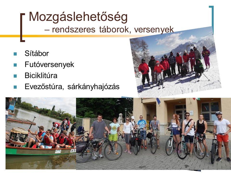 Mozgáslehetőség – rendszeres táborok, versenyek Sítábor Futóversenyek Biciklitúra Evezőstúra, sárkányhajózás
