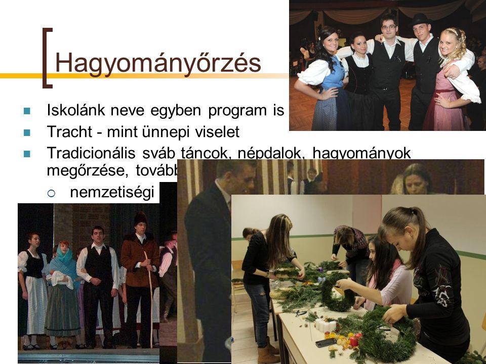 Hagyományőrzés Iskolánk neve egyben program is Tracht - mint ünnepi viselet Tradicionális sváb táncok, népdalok, hagyományok megőrzése, továbbadása 