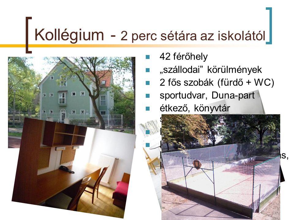 """Kollégium - 2 perc sétára az iskolától 42 férőhely """"szállodai"""" körülmények 2 fős szobák (fürdő + WC) sportudvar, Duna-part étkező, könyvtár számítógép"""