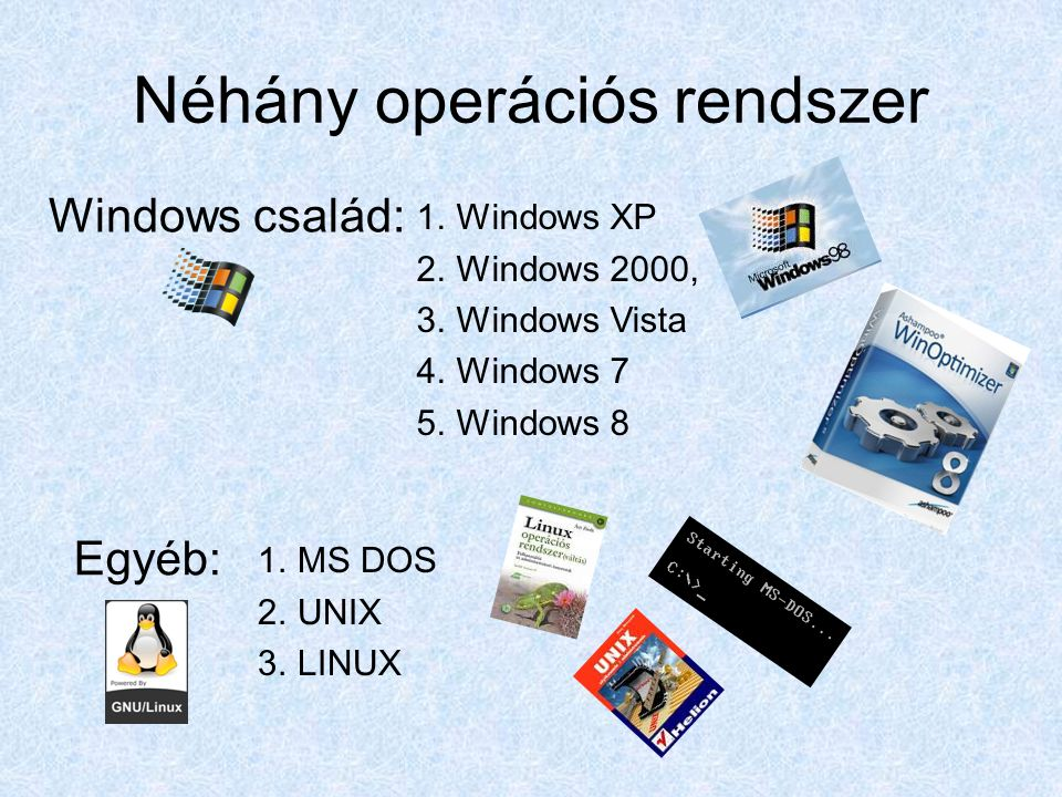 Néhány operációs rendszer 1.Windows XP 2.Windows 2000, 3.Windows Vista 4.Windows 7 5.Windows 8 Windows család: Egyéb: 1.MS DOS 2.UNIX 3.LINUX