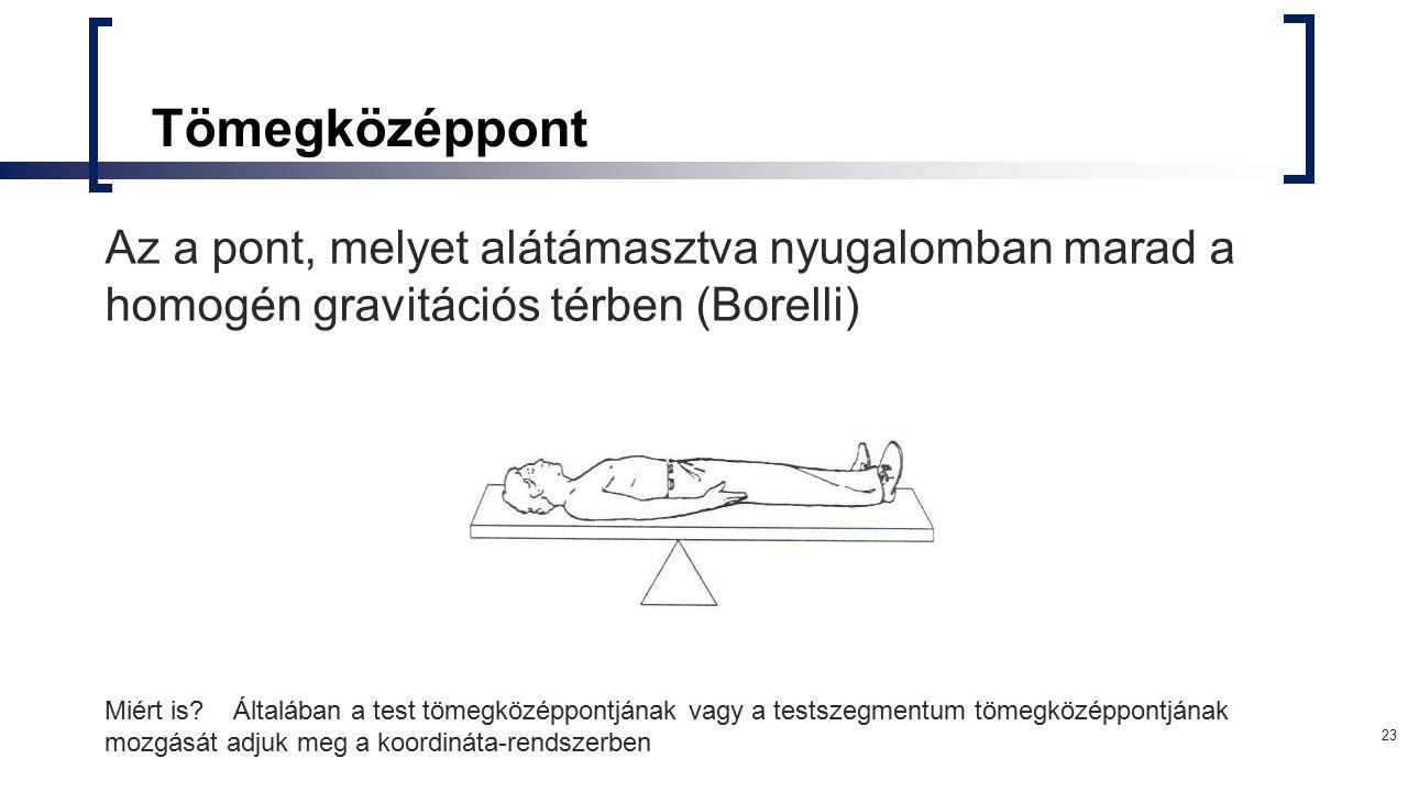 23 Tömegközéppont Az a pont, melyet alátámasztva nyugalomban marad a homogén gravitációs térben (Borelli) Miért is? Általában a test tömegközéppontján
