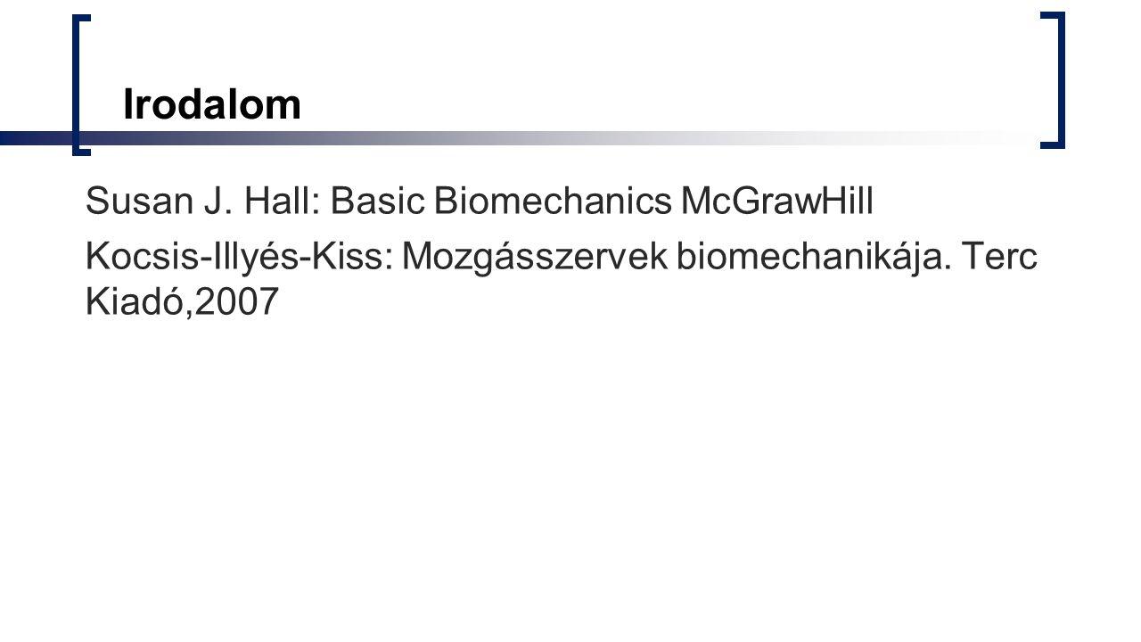 Irodalom Susan J. Hall: Basic Biomechanics McGrawHill Kocsis-Illyés-Kiss: Mozgásszervek biomechanikája. Terc Kiadó,2007