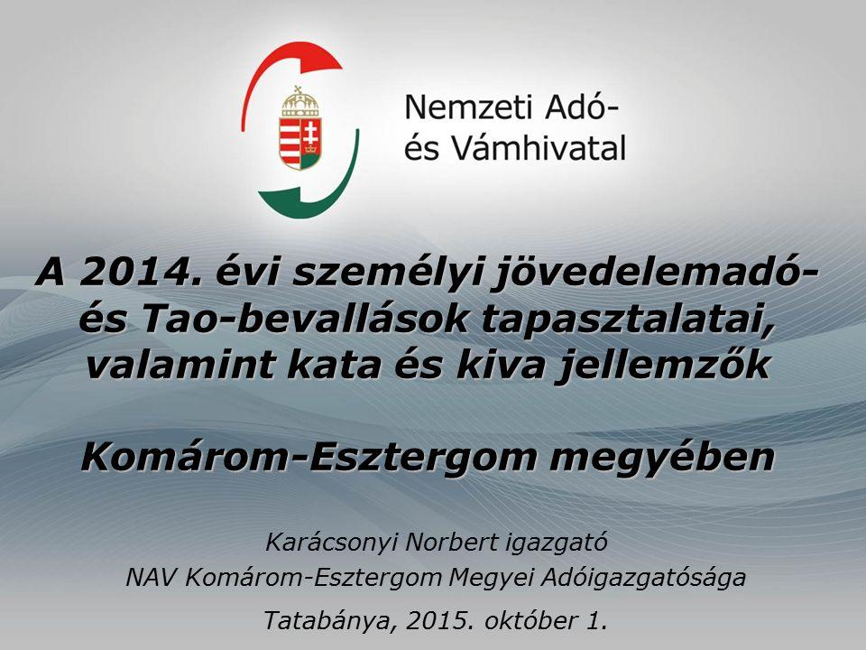 A 2014. évi személyi jövedelemadó- és Tao-bevallások tapasztalatai, valamint kata és kiva jellemzők Komárom-Esztergom megyében Karácsonyi Norbert igaz