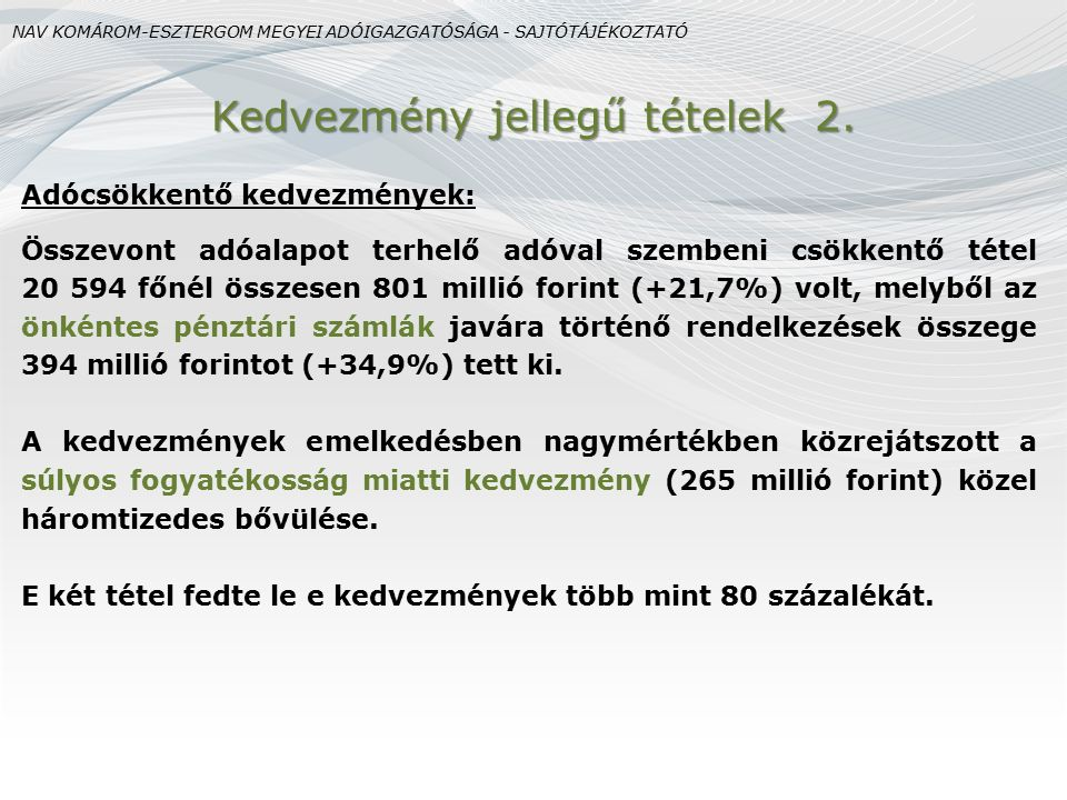 Adócsökkentő kedvezmények: Összevont adóalapot terhelő adóval szembeni csökkentő tétel 20 594 főnél összesen 801 millió forint (+21,7%) volt, melyből
