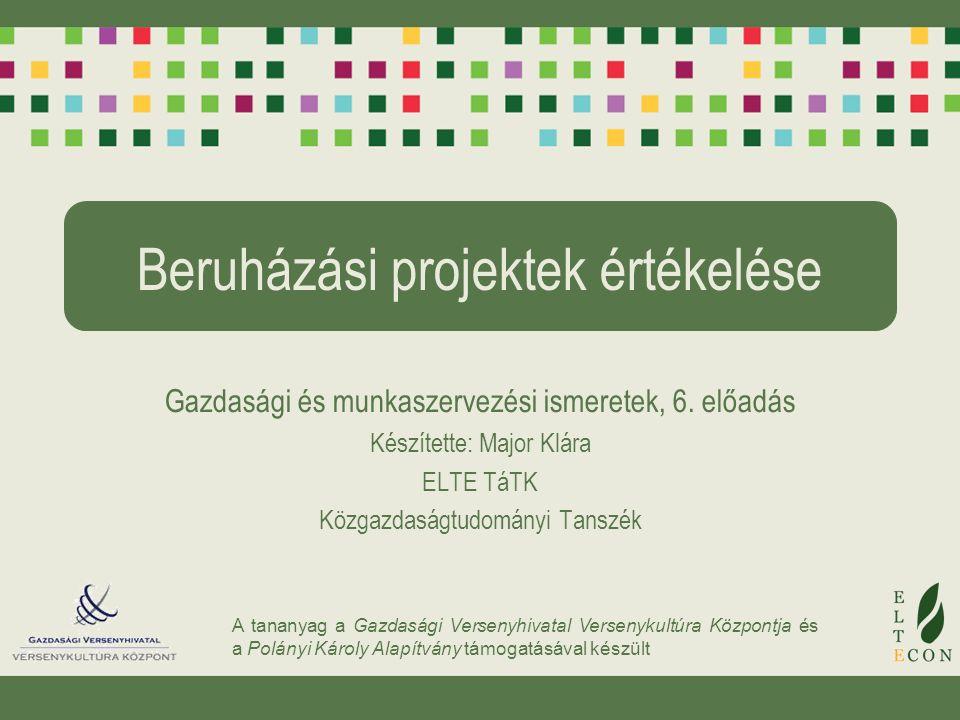 A tananyag a Gazdasági Versenyhivatal Versenykultúra Központja és a Polányi Károly Alapítvány támogatásával készült Beruházási projektek értékelése Gazdasági és munkaszervezési ismeretek, 6.