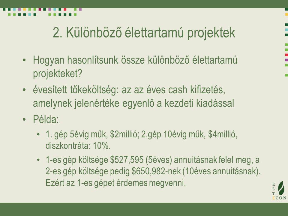 2. Különböző élettartamú projektek Hogyan hasonlítsunk össze különböző élettartamú projekteket? évesített tőkeköltség: az az éves cash kifizetés, amel