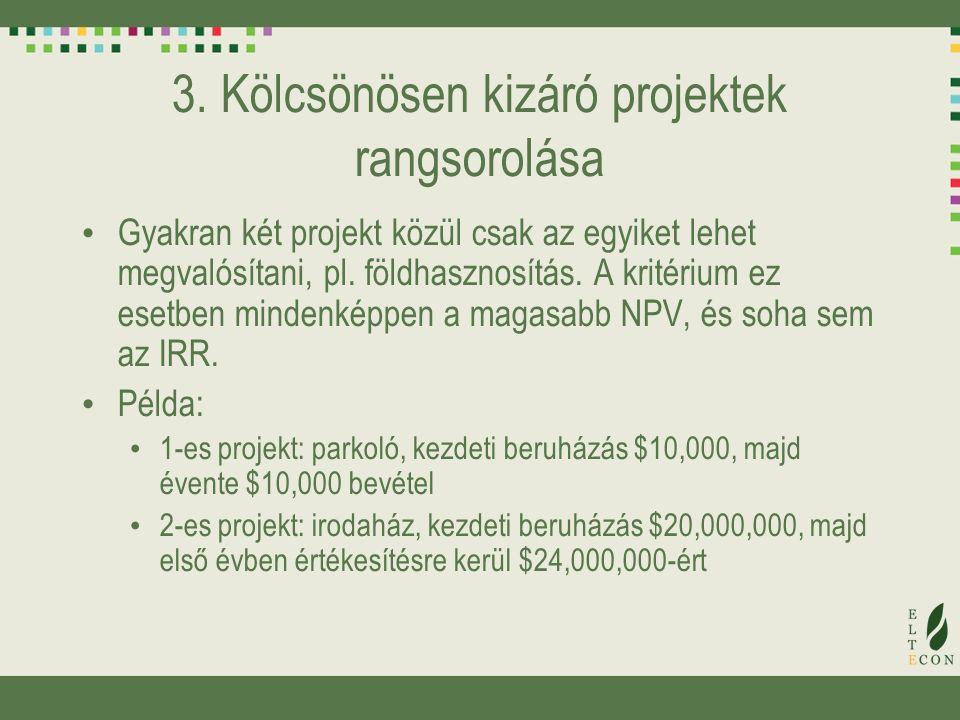 3. Kölcsönösen kizáró projektek rangsorolása Gyakran két projekt közül csak az egyiket lehet megvalósítani, pl. földhasznosítás. A kritérium ez esetbe