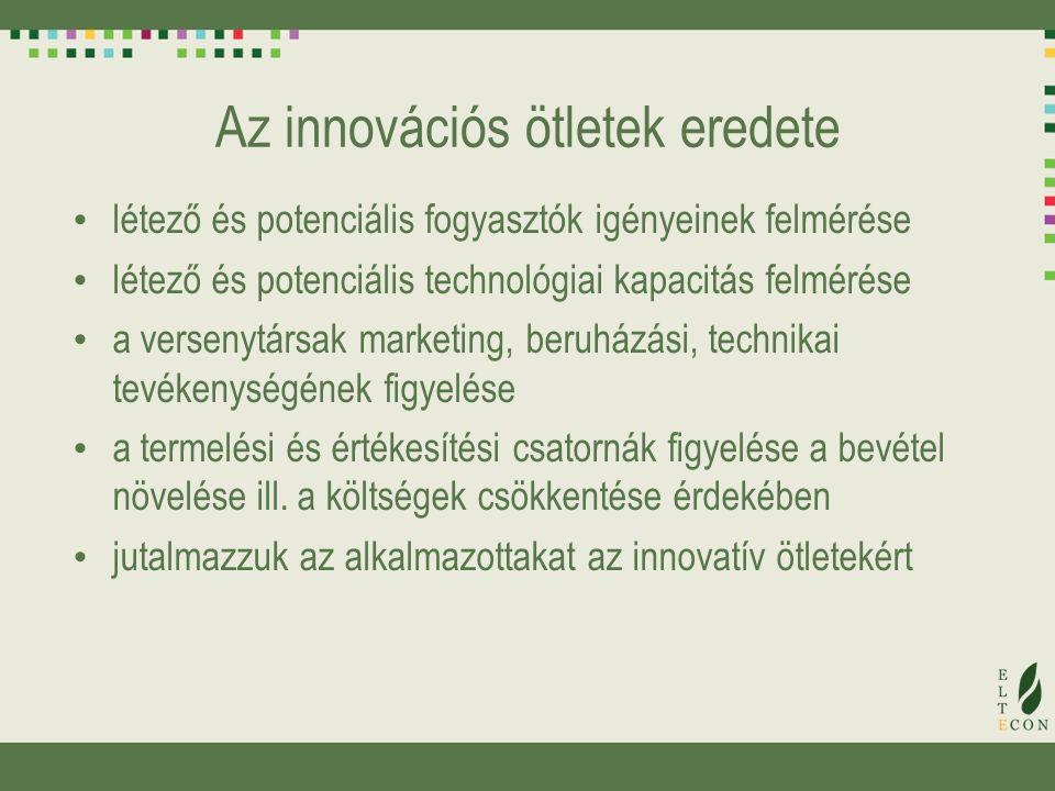 Az innovációs ötletek eredete létező és potenciális fogyasztók igényeinek felmérése létező és potenciális technológiai kapacitás felmérése a versenytársak marketing, beruházási, technikai tevékenységének figyelése a termelési és értékesítési csatornák figyelése a bevétel növelése ill.