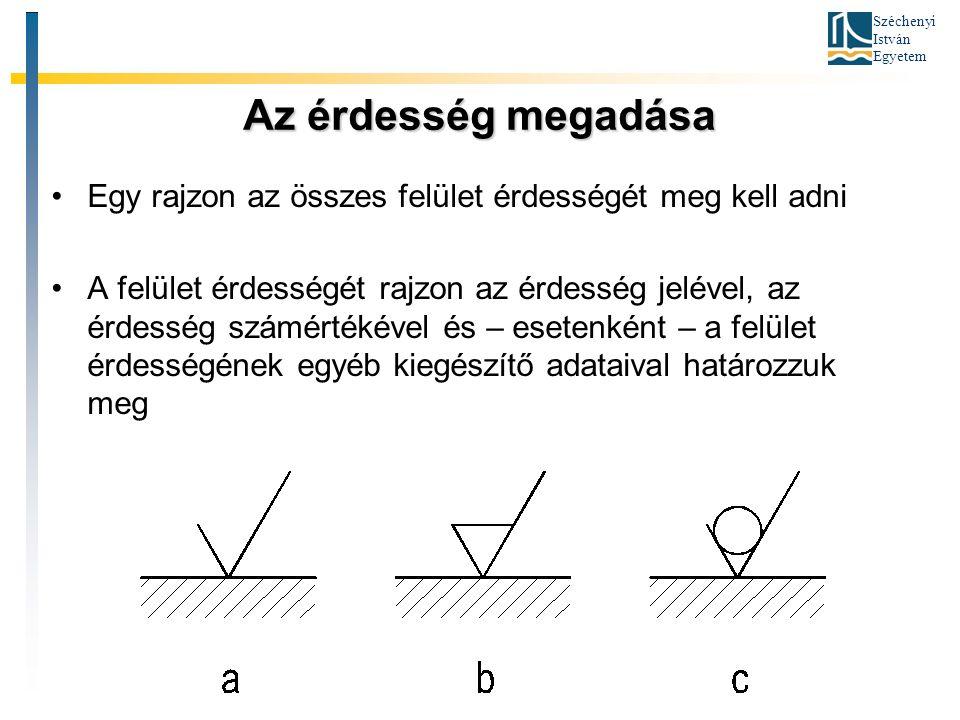 Széchenyi István Egyetem Az érdesség megadása Egy rajzon az összes felület érdességét meg kell adni A felület érdességét rajzon az érdesség jelével, a