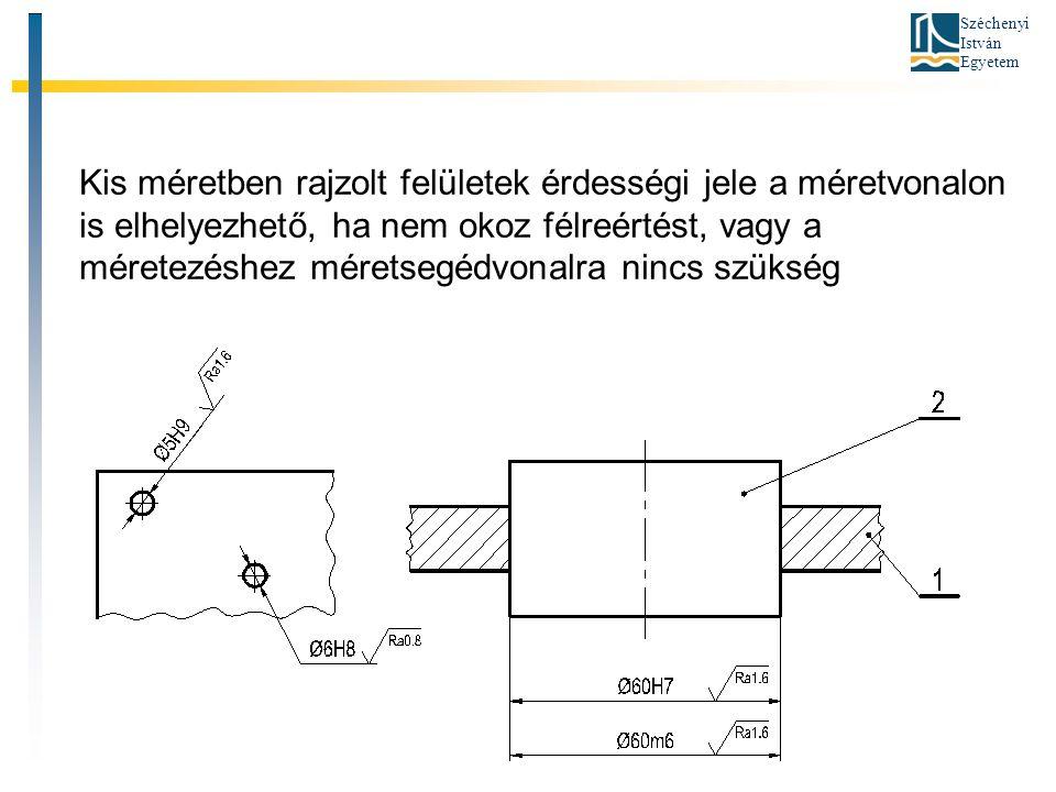 Széchenyi István Egyetem Kis méretben rajzolt felületek érdességi jele a méretvonalon is elhelyezhető, ha nem okoz félreértést, vagy a méretezéshez méretsegédvonalra nincs szükség