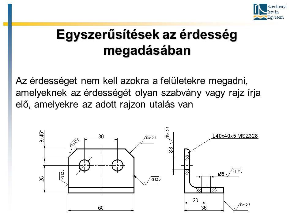 Széchenyi István Egyetem Egyszerűsítések az érdesség megadásában Az érdességet nem kell azokra a felületekre megadni, amelyeknek az érdességét olyan szabvány vagy rajz írja elő, amelyekre az adott rajzon utalás van
