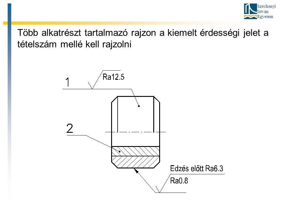 Széchenyi István Egyetem Több alkatrészt tartalmazó rajzon a kiemelt érdességi jelet a tételszám mellé kell rajzolni