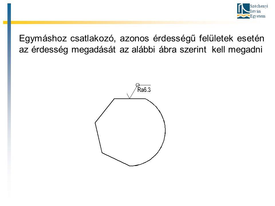 Széchenyi István Egyetem Egymáshoz csatlakozó, azonos érdességű felületek esetén az érdesség megadását az alábbi ábra szerint kell megadni