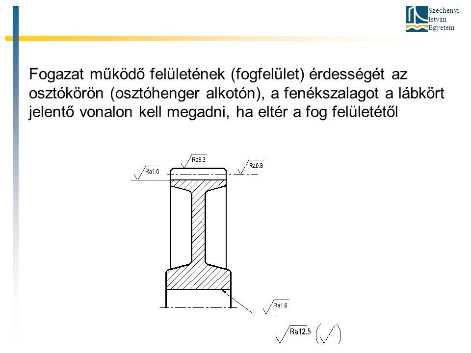 Széchenyi István Egyetem Fogazat működő felületének (fogfelület) érdességét az osztókörön (osztóhenger alkotón), a fenékszalagot a lábkört jelentő vonalon kell megadni, ha eltér a fog felületétől