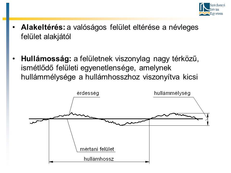 Széchenyi István Egyetem Alakeltérés: a valóságos felület eltérése a névleges felület alakjától Hullámosság: a felületnek viszonylag nagy térközű, ismétlődő felületi egyenetlensége, amelynek hullámmélysége a hullámhosszhoz viszonyítva kicsi