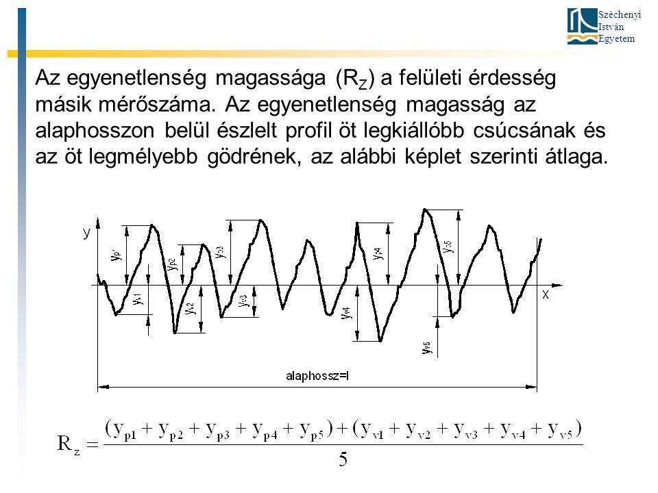 Széchenyi István Egyetem Az egyenetlenség magassága (R Z ) a felületi érdesség másik mérőszáma. Az egyenetlenség magasság az alaphosszon belül észlelt