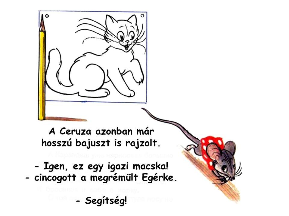 A Ceruza azonban már hosszú bajuszt is rajzolt. - Igen, ez egy igazi macska! - cincogott a megrémült Egérke. - Segítség!