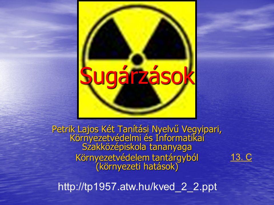 Sugárvédelem – tartalom Atomszerkezet – ismétlés Sugárzások fajtái – ismétlés Sugárzási alapfogalmak Sugárzások a környezetben Sugárzó anyagok felhasználása Sugárzások hatásai, veszélyei Dóziskorlátok Nem ionizáló sugárzások és hatásaik Sugárzások mérése Radioaktív hulladékok kezelése, elhelyezése környezetvédelem környezet- technika